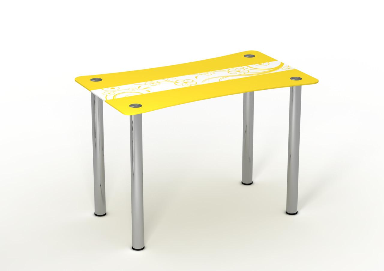 Стеклянный стол Солнечный луг Желтый рисунок