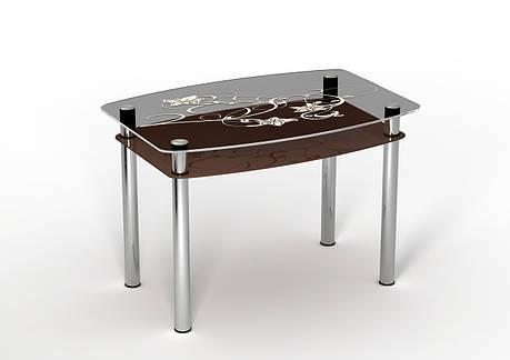 Стеклянный двухполочный стол Шоколад шоколадная полка/белый рисунок, фото 2