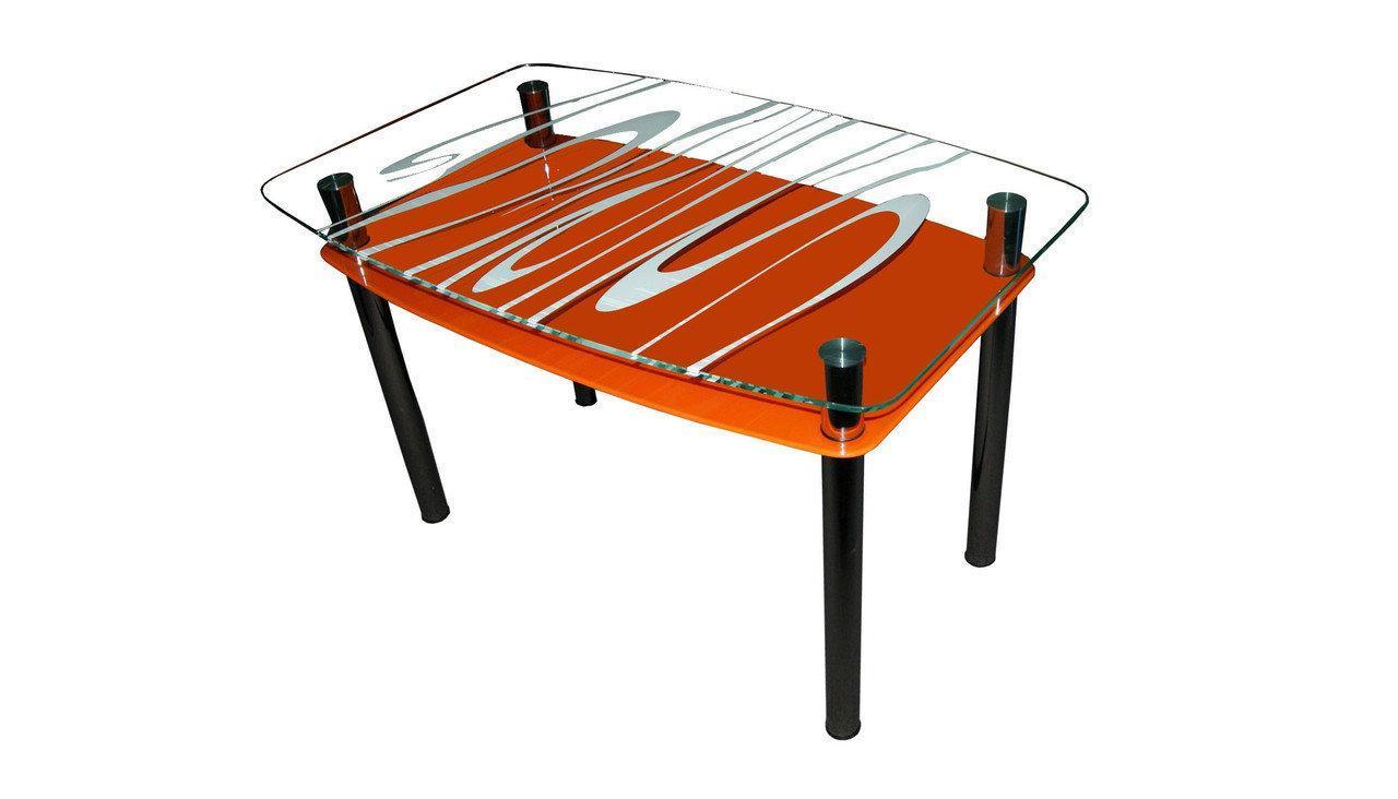 Стеклянный двухполочный стол Родео оранжевый фон, белый рисунок