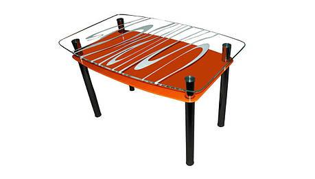 Стеклянный двухполочный стол Родео оранжевый фон, белый рисунок, фото 2