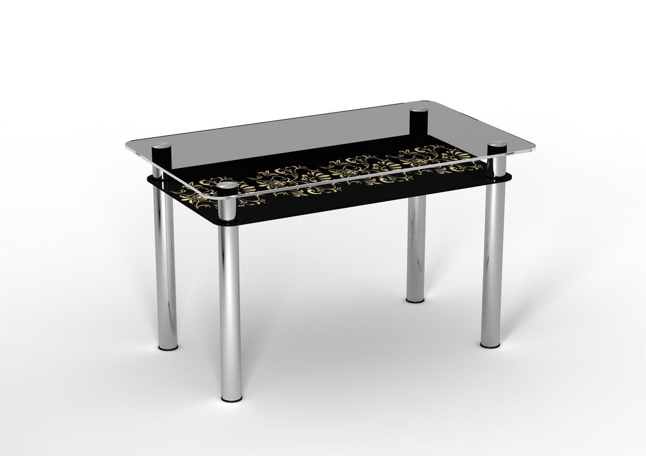 Стеклянный двухполочный стол Ампир черная полка/бежевый рисунок