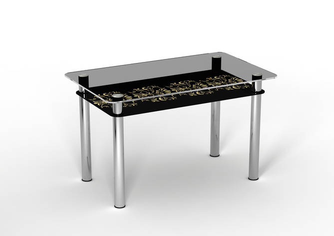 Стеклянный двухполочный стол Ампир черная полка/бежевый рисунок, фото 2