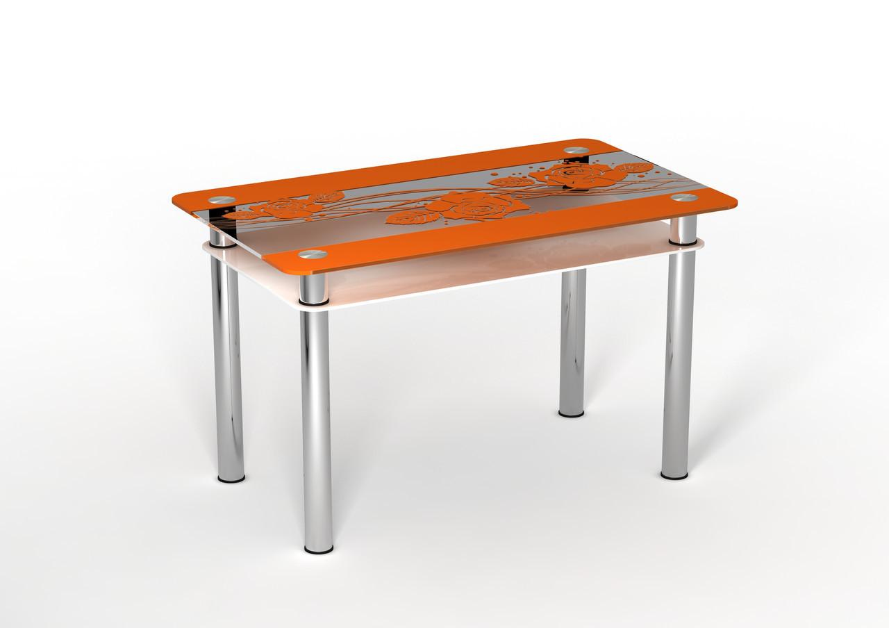 Стеклянный двухполочный стол Фреш Роза белая полка/оранжевый рисунок