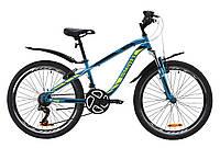 """Горный подростковый велосипед ST 24"""" Discovery FLINT AM Vbr с крылом Pl 2020 (лазурно-желтый с черным)"""