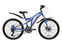 """Горный подростковый двухподвесный велосипед ST 24"""" Discovery ROCKET AM2 DD  2020 (сине-оранжевый с белым)"""