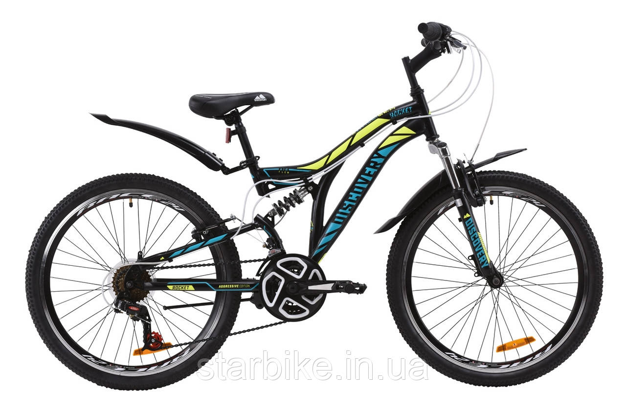 """Горный подростковый двухподвесный велосипед ST 24"""" Discovery ROCKET Vbr 2020 (черно-желтый с бирюзовым (м))"""