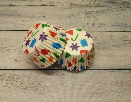 Тарталетки бумажные для кексов, маффинов Новогодние 500 шт., фото 2