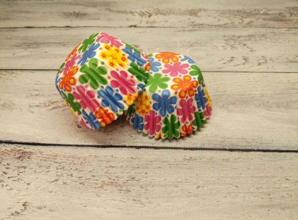 Тарталетки бумажные для кексов, маффинов Цветы 500 шт.