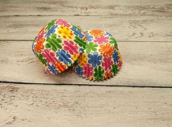 Тарталетки бумажные для кексов, маффинов Цветы 500 шт., фото 2