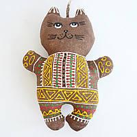Кофейный котенок в желтой рубашке. Украинский сувенир.