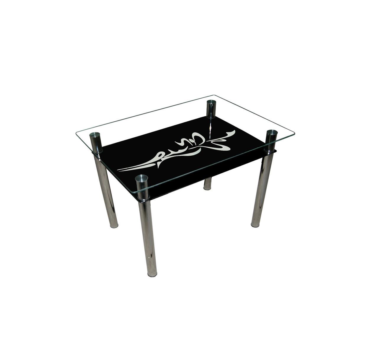 Стеклянный двухполочный стол Стрела черный белая стрела