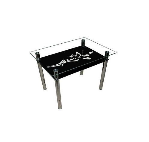 Стеклянный двухполочный стол Стрела черный белая стрела, фото 2