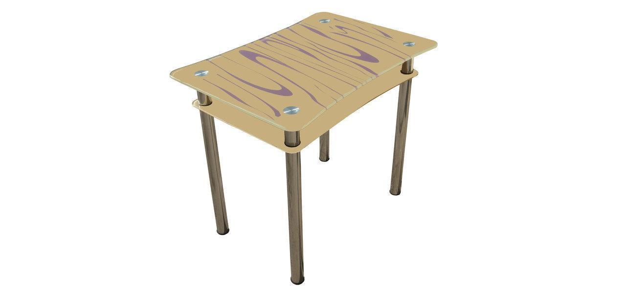 Стеклянный двухполочный стол Винтаж бежевый/фиолетовые волны