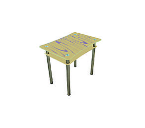 Стеклянный двухполочный стол Винтаж бежевый/фиолетовые волны, фото 2