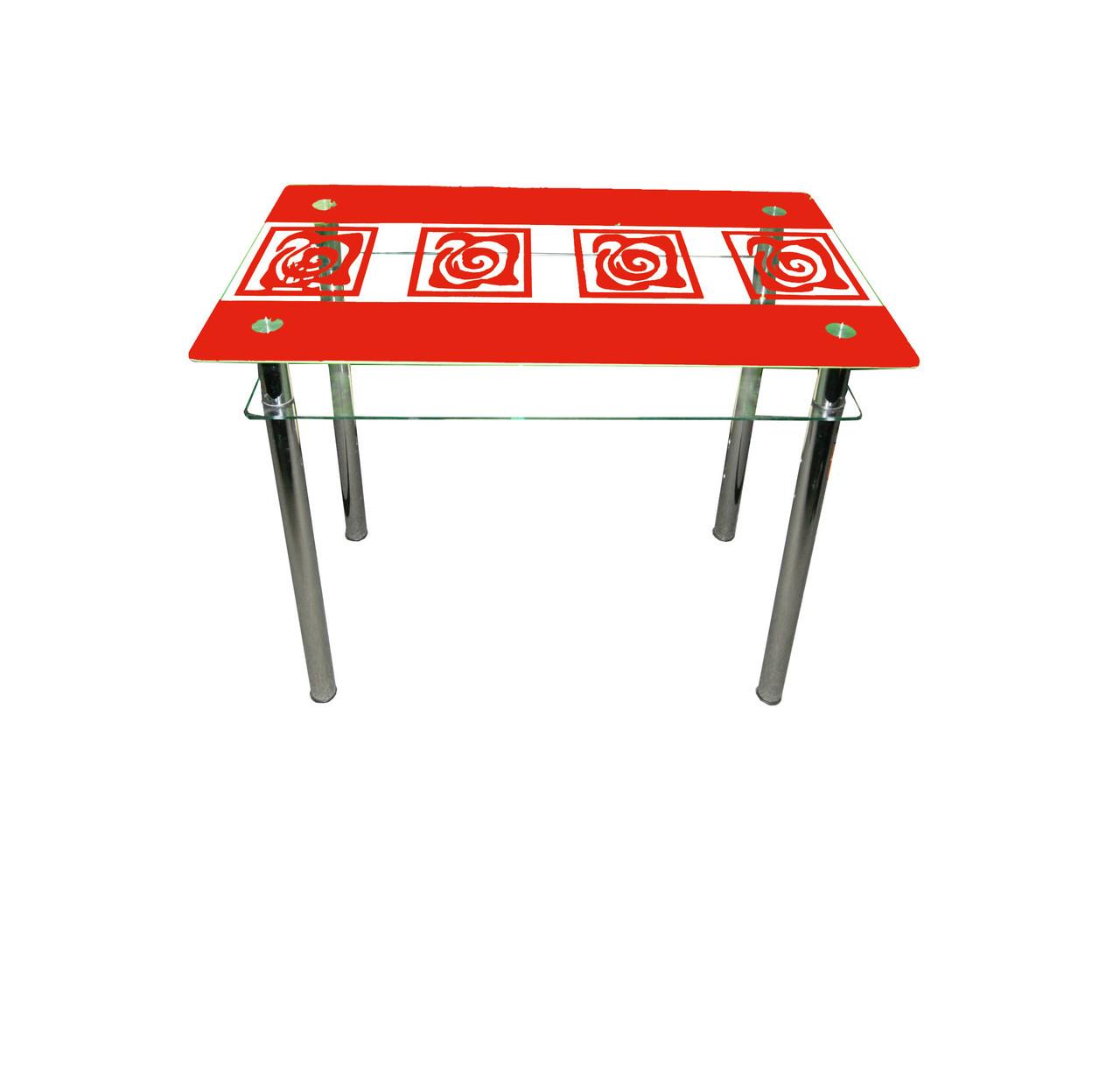 Стеклянный двухполочный стол Улитки красные красный рисунок