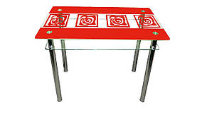 Стеклянный двухполочный стол Улитки красные красный рисунок, фото 2