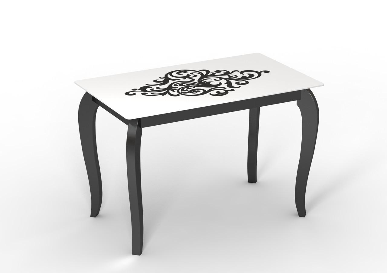 Стеклянный стол Император артдэко на деревянных ножках