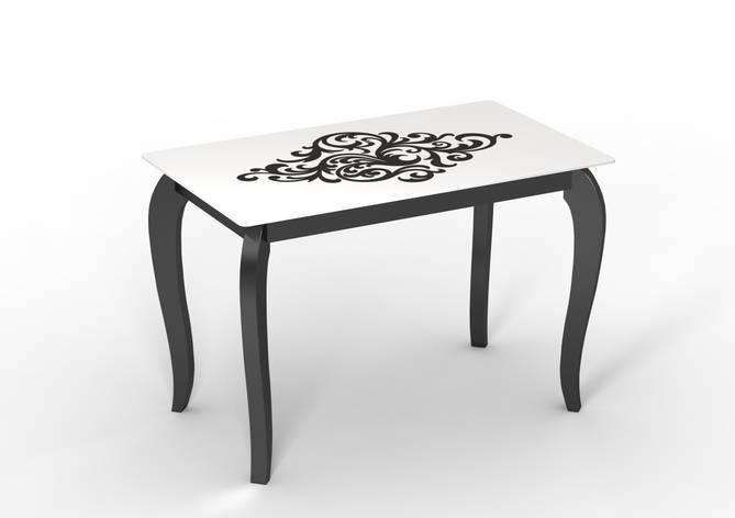 Стеклянный стол Император артдэко на деревянных ножках, фото 2
