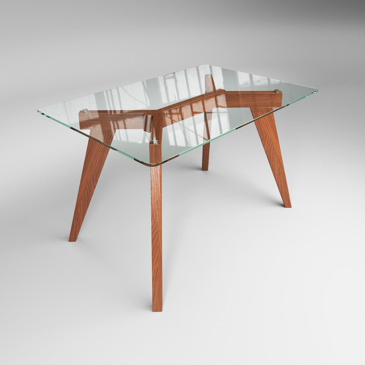 Стеклянный стол Леонардо на деревянных ножках