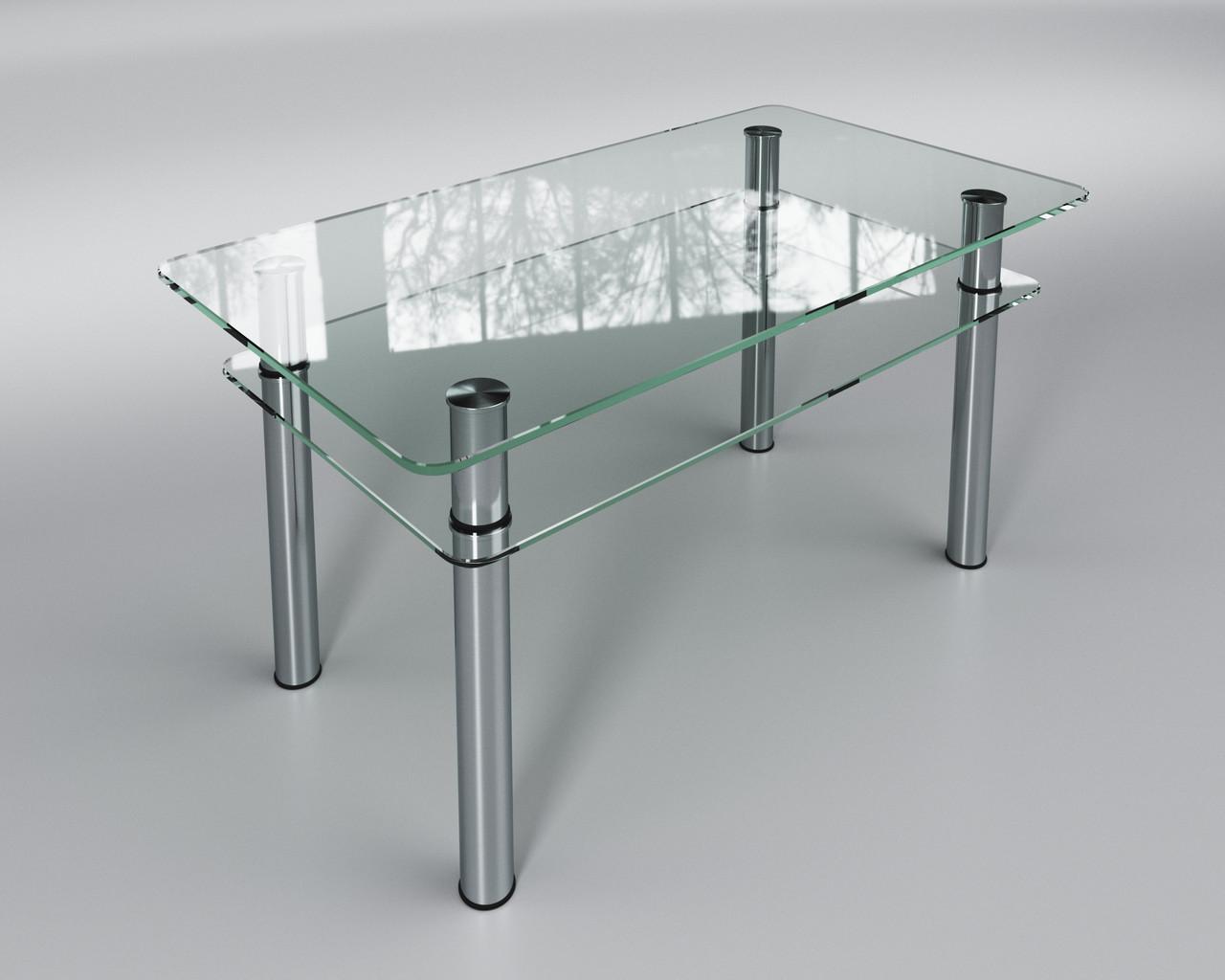 Стеклянный стол журнальный Кристалл мини с полкой