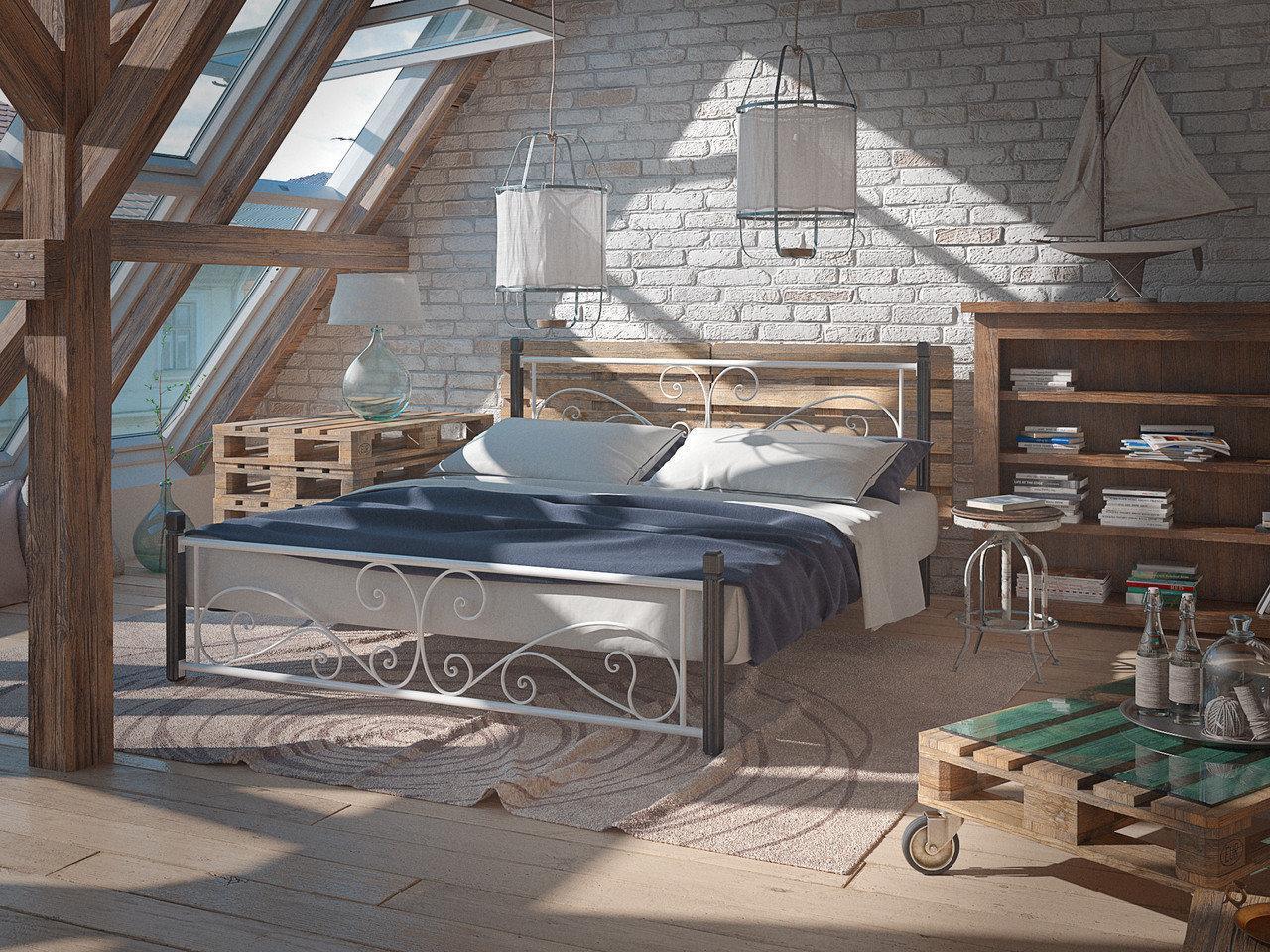 Металлическая двуспальная кровать Нарцис на деревянных ножках