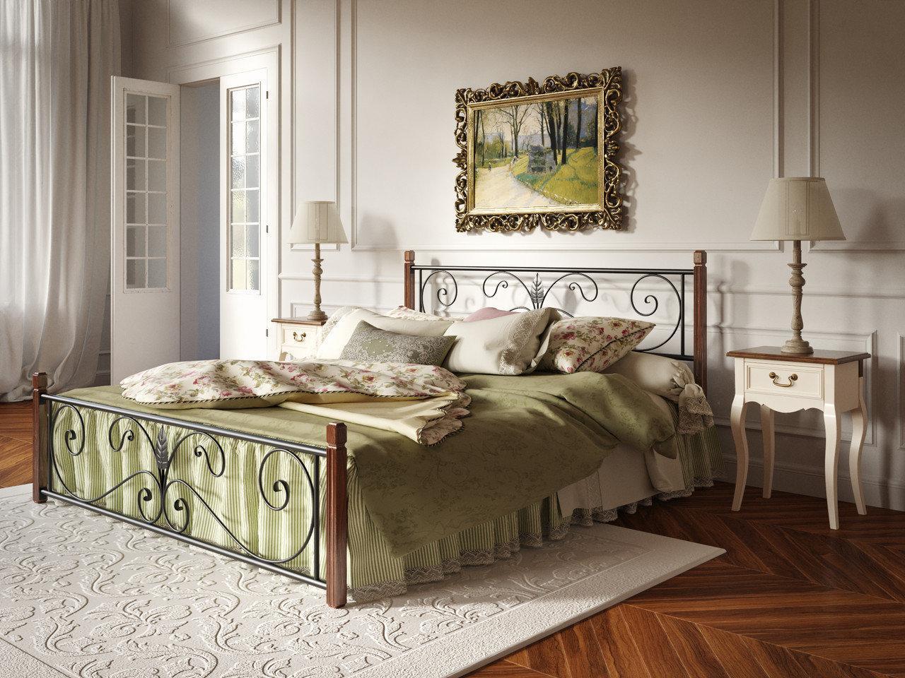 Металлическая кровать Кронус на деревянных ножках