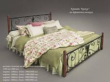 Металлическая кровать Кронус на деревянных ножках, фото 2