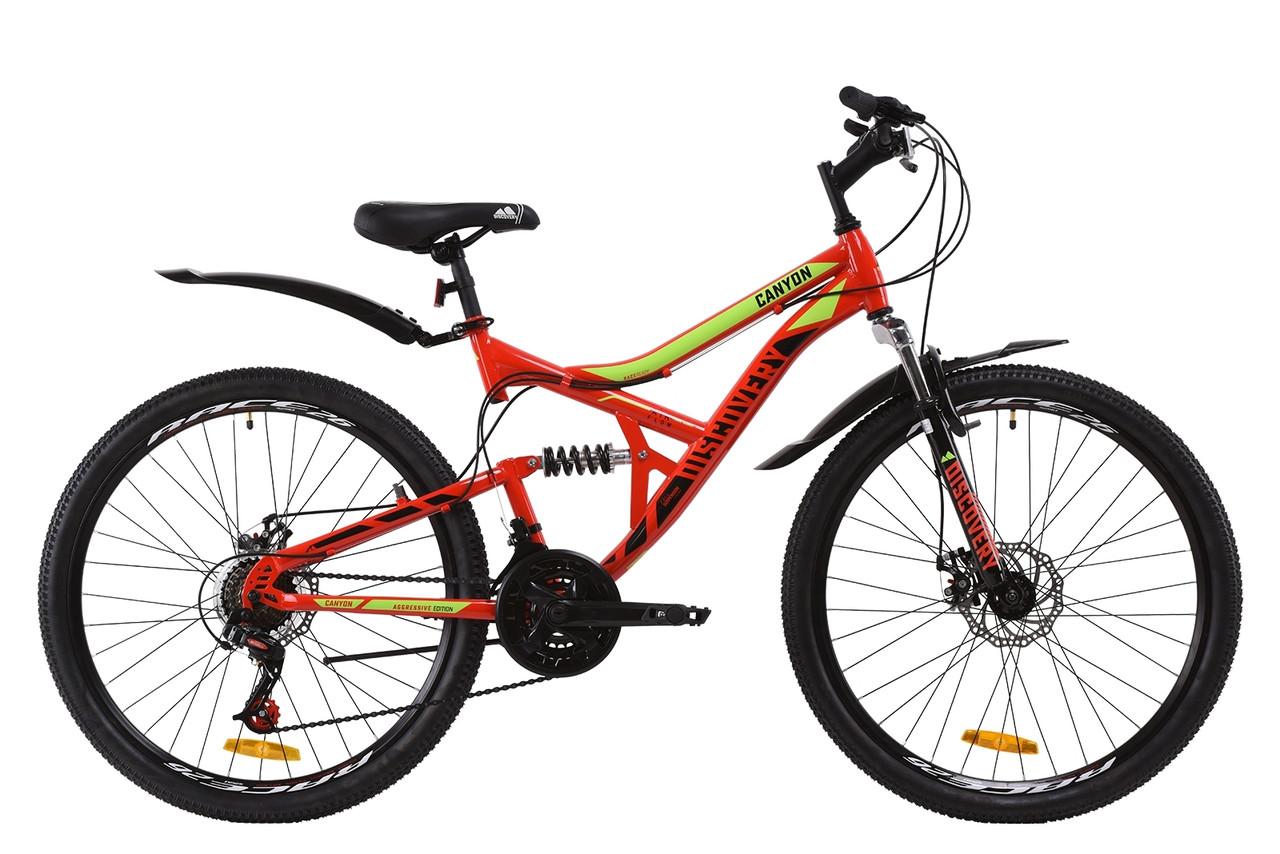 """Велосипед ST 26"""" Discovery CANYON AM2 DD с крылом Pl 2020 (красно-салатовый с черным)"""