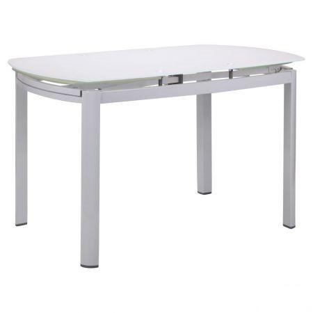 Стол обеденный раскладной Кассандра B179-71 1800(1200)*800*770 База белый/Стекло белый