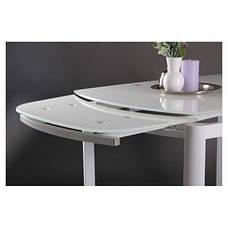 Стол обеденный раскладной Кассандра B179-71 1800(1200)*800*770 База белый/Стекло белый, фото 3