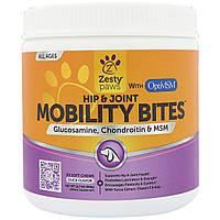 Zesty Paws, Mobility Bites для собак, поддержка бедер и суставов, вкус утки, 90 мягких жвачек