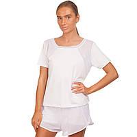 Комплект для занятий фитнесом и йогой (шорты и футболка, белый)