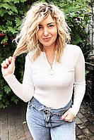 Обтягивающий джемпер-пуловер на молнии с кольцом LUREX - белый цвет, M (есть размеры), фото 1