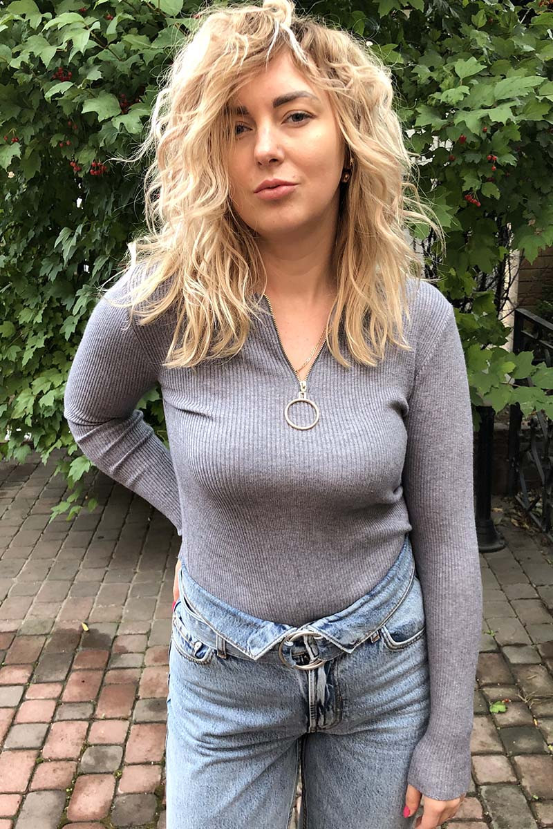 Обтягивающий джемпер-пуловер на молнии с кольцом LUREX - серый цвет, M (есть размеры)