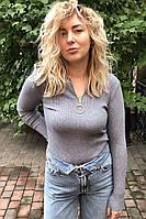 Обтягивающий джемпер-пуловер на молнии с кольцом LUREX - серый цвет, M (есть размеры), фото 1