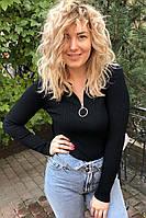 Обтягивающий джемпер-пуловер на молнии с кольцом LUREX - черный цвет, S (есть размеры), фото 1