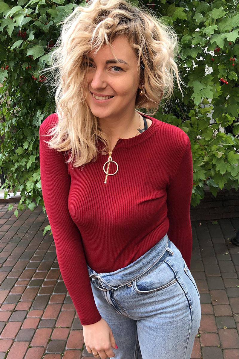 Обтягивающий джемпер-пуловер на молнии с кольцом LUREX - бордо цвет, S (есть размеры)