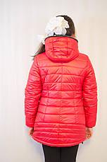 Красивая модная дешевая демисезонная куртка с капюшоном, красная, р.134,140,146., фото 3