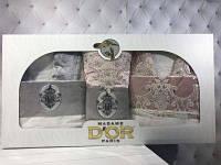 Подарочный набор халаты+полотенца (6-предметов) Madame Dor Серый/Пудра