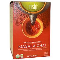 Rishi Tea, Органический черный чай, масала, 15 чайных пакетиков, 1.85 унций (52.5 г) каждый