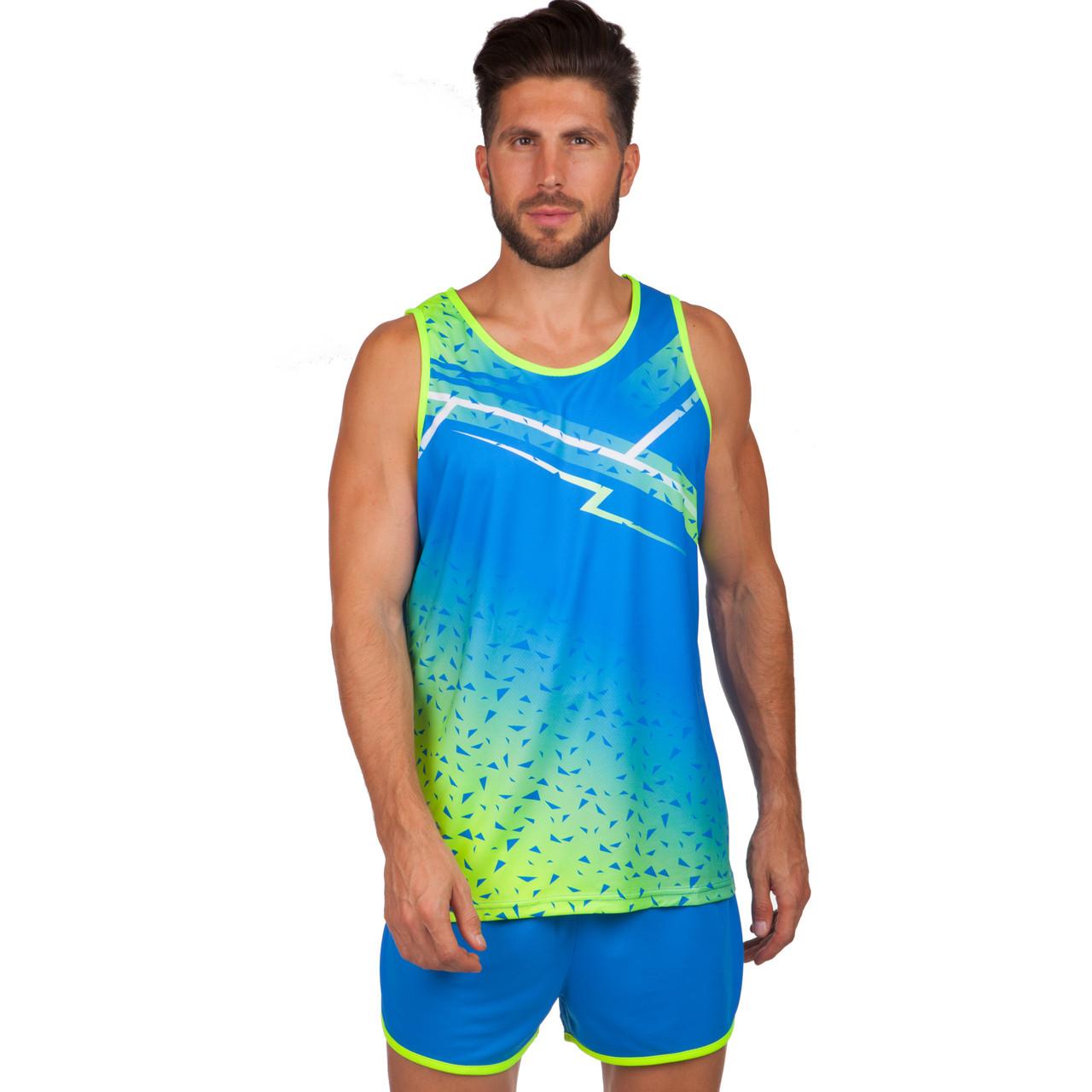 Форма для легкой атлетики мужская (синий-салатовый)