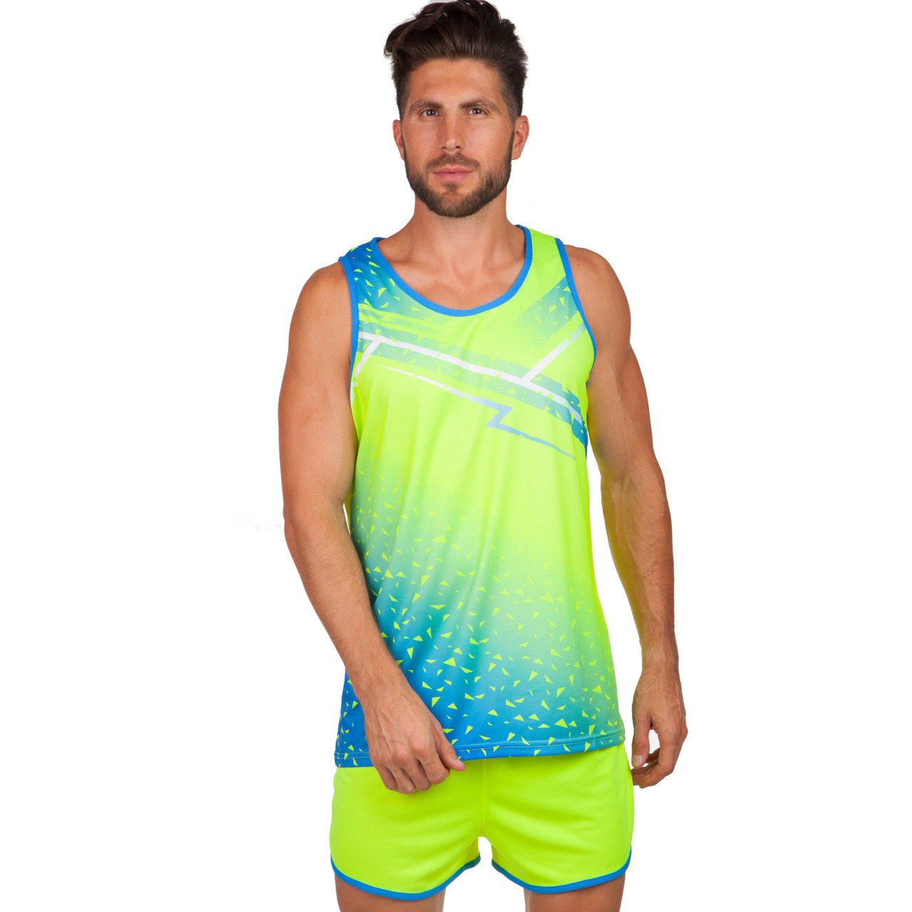 Форма для легкой атлетики мужская (лимонный-синий)