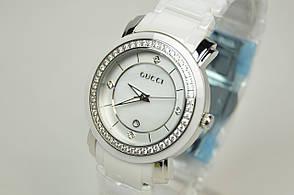 Женские наручные часы Gucci керамика silver