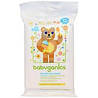 BabyGanics, Салфетки для рук и лица, без запаха, 30 салфеток