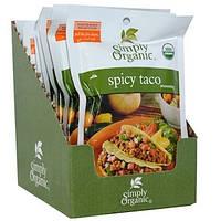 Simply Organic, Приправа «Острый Тако», 12 пакетиков, по 1,13 унции (32 г) каждый