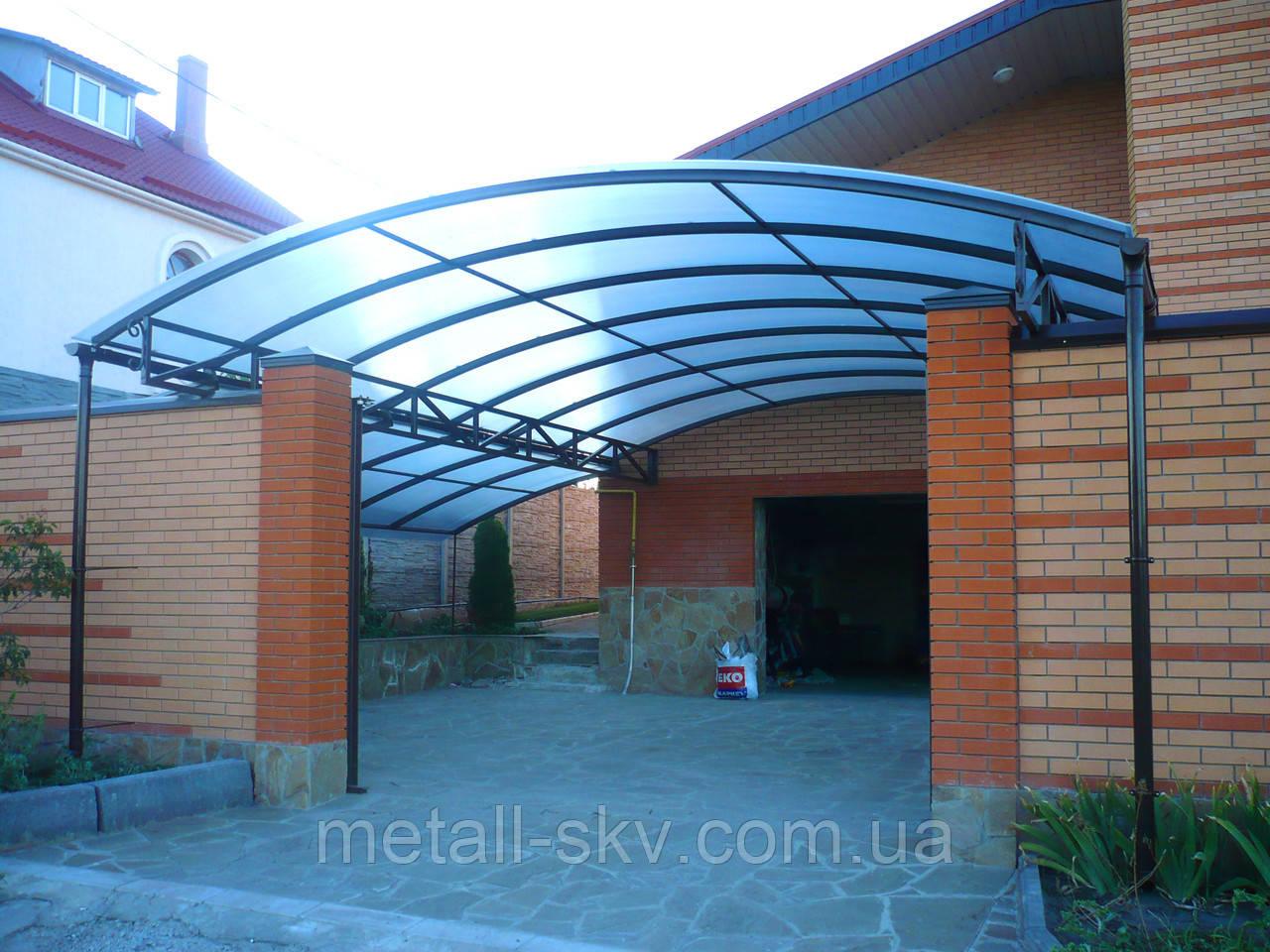 Навес металлический прозрачный (поликарбонат)