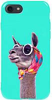 Чехол-накладка TOTO Pure TPU 2mm Print Case Apple iPhone 7/8/SE 2020 #8 Lama Glasses Mint #I/S