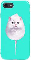 Чехол-накладка TOTO Pure TPU 2mm Print Case Apple iPhone 7/8/SE 2020 #9 Cat Candy Mint #I/S