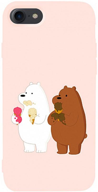 Чехол-накладка TOTO Matt TPU 2mm Print Case Apple iPhone 7/8/SE 2020 #66 Bear Icecreame Sand pink #I/S