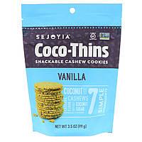 Sejoyia Foods, Coco-Thins, печенье-закуска с кешью, ваниль, 99 г